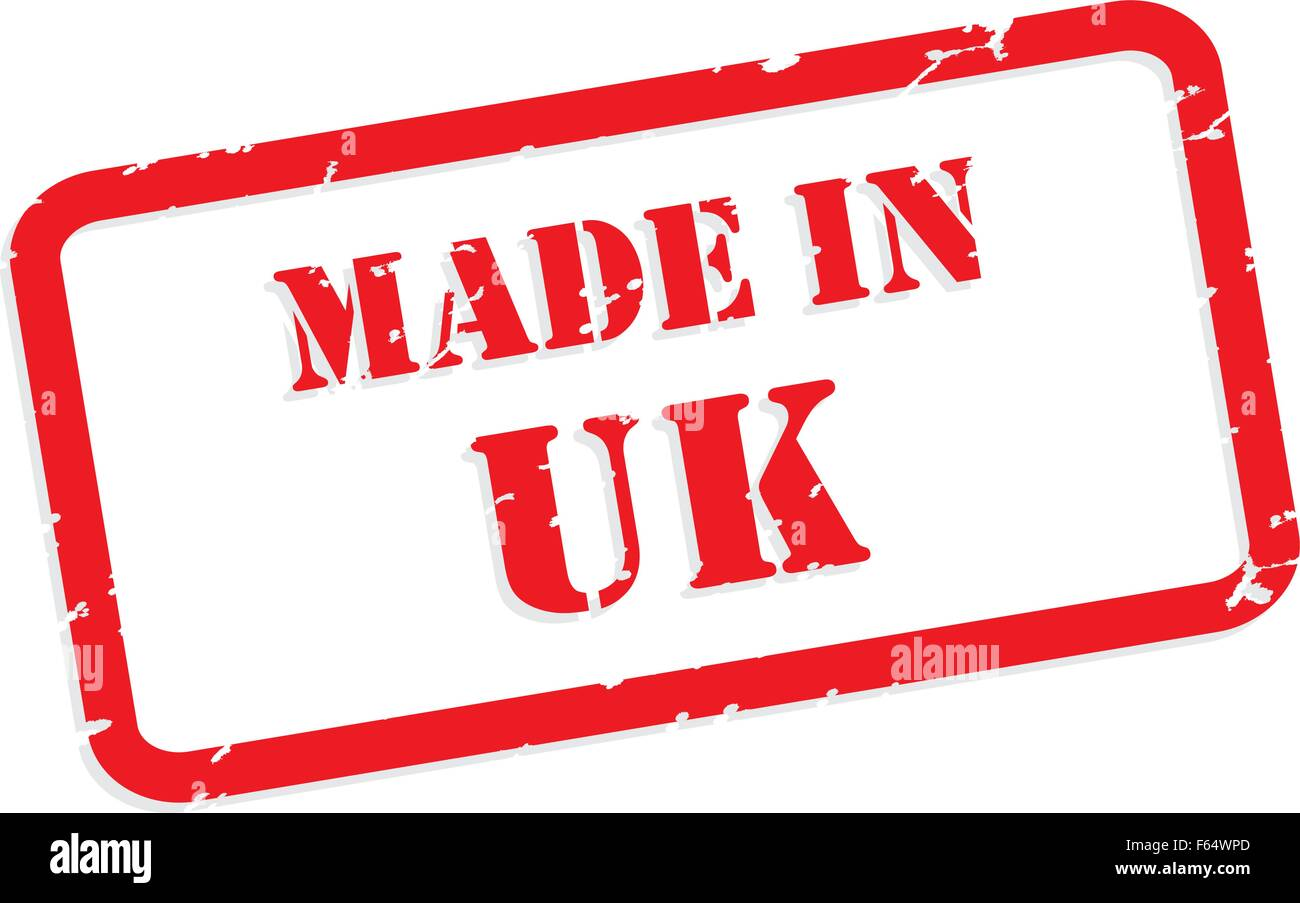 Red rubber stamp vector of Made In UK - Stock Vector