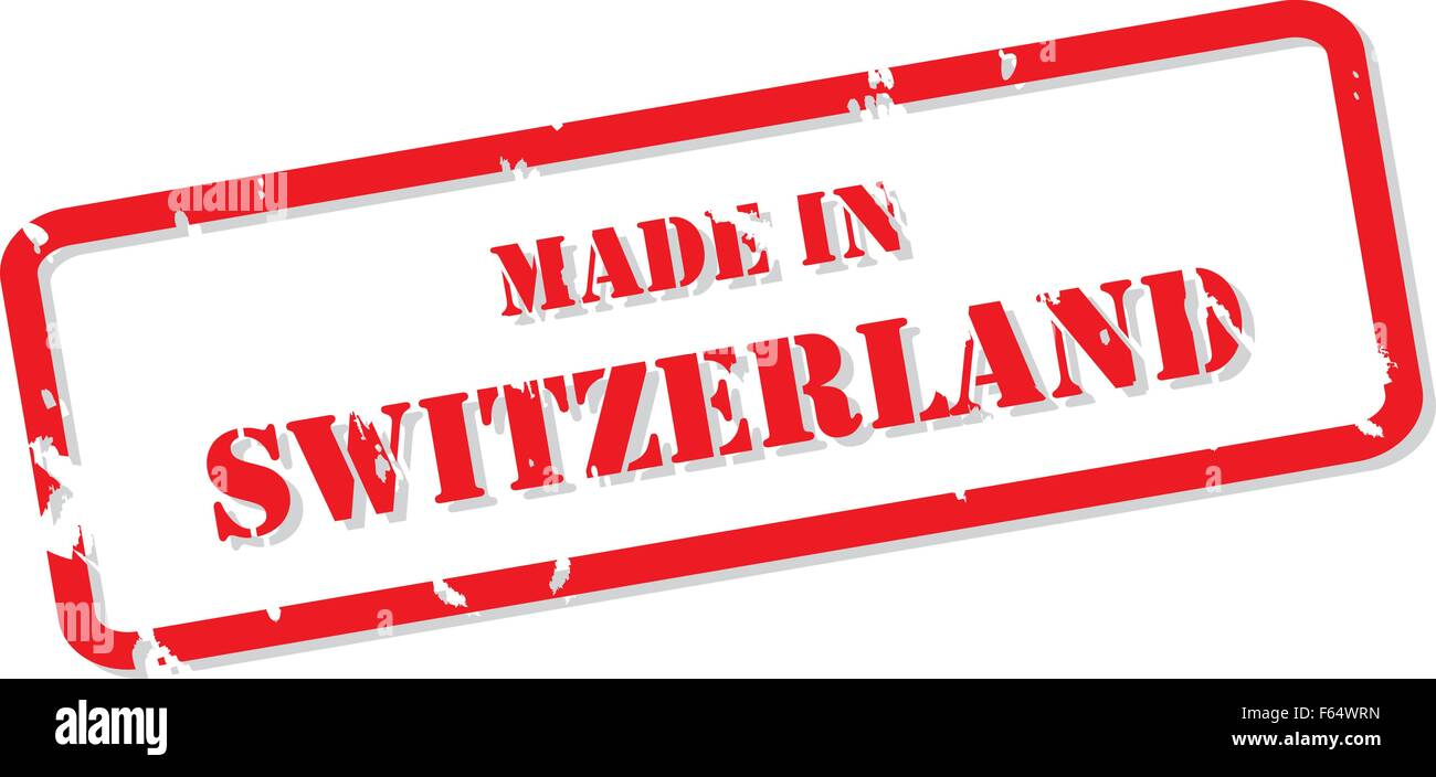 Red rubber stamp vector of Made In Switzerland Stock Vector
