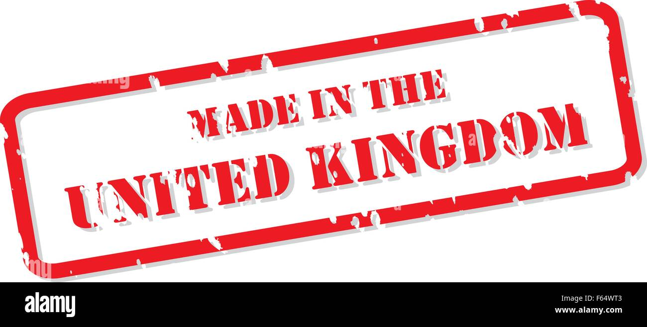 Red rubber stamp vector of Made In the UK - Stock Vector