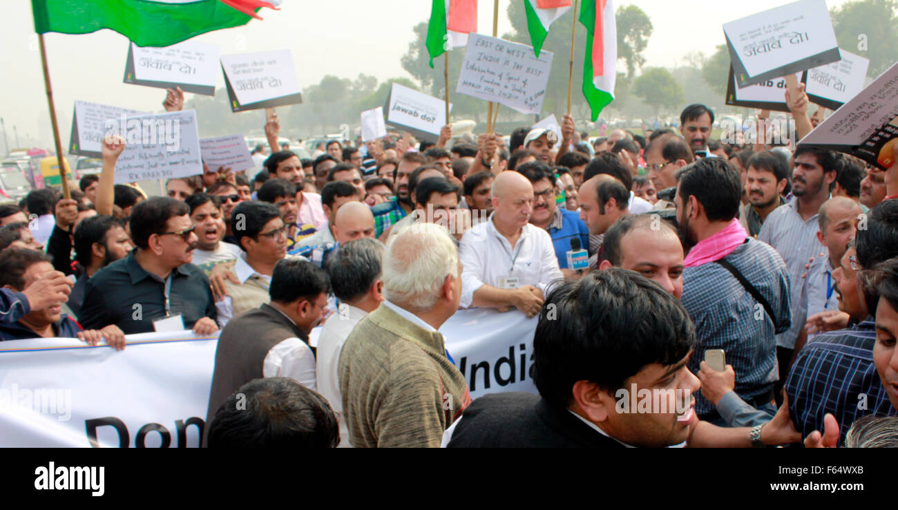 A march led by anupam kher in new delhi. The March was called March for India and India against intolerance Nov Stock Photo