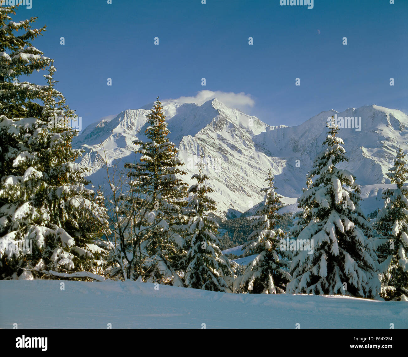 Mont Blanc massif during winter from Bettex, Saint Gervais, Haute Savoie, France. - Stock Image