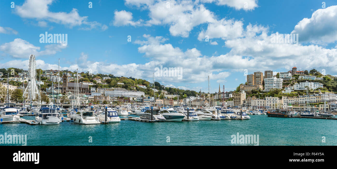 View over the Harbor and Marina of Torquay, Torbay, England, UK | Aussicht ueber den Hafen und Marina von Torquay - Stock Image
