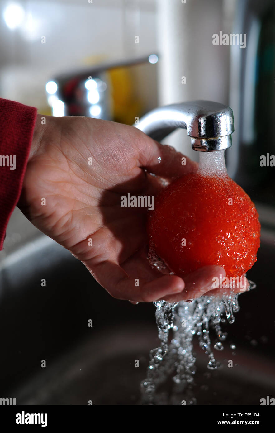 Illustration - A tomato is washed up with tap water in Dresden (Saxony), Germany, 11 March 2013. Photo: Thomas Eisenhuth Stock Photo