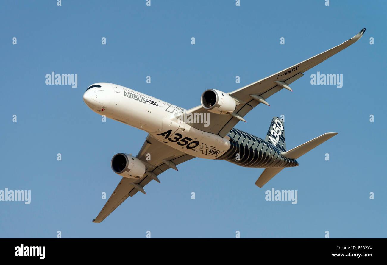 Airbus A350 XWB on display at Dubai Airshow in November 2015 Dubai United Arab Emirates - Stock Image