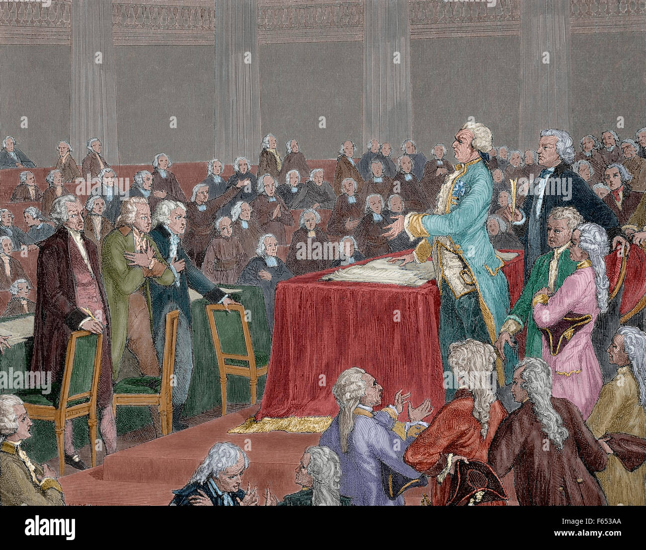 Frech Revolution 1787-1799.  Louis XVI was forced to adopt the Constitution of 1791 by the National Assembly. Engraving - Stock Image
