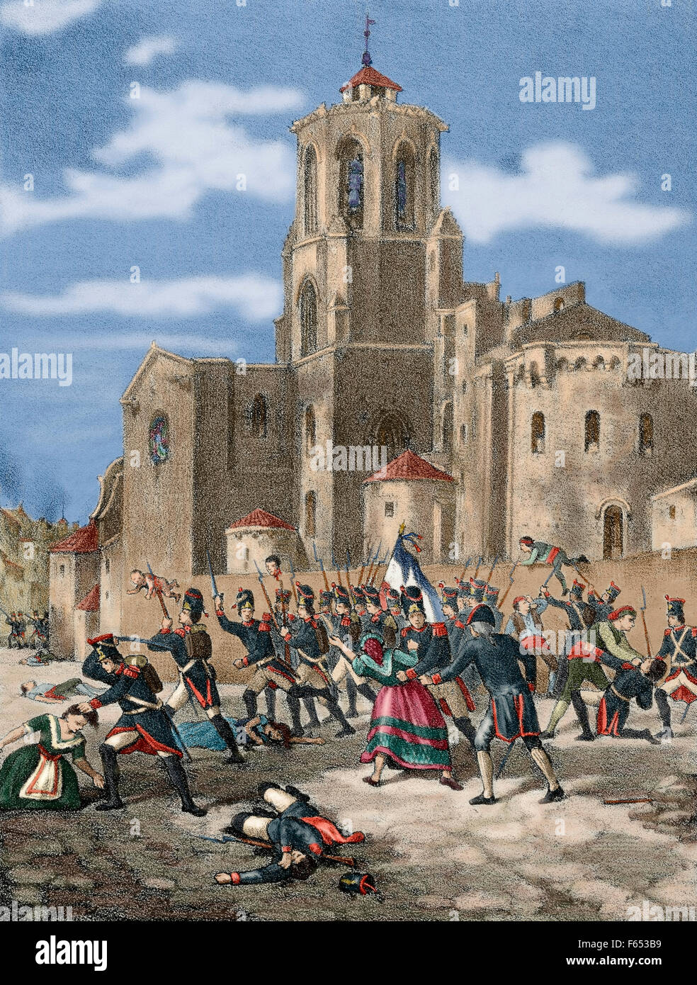 Peninsular War (1808-1814). Catalonia. Siege and Conquest of Tarragona by French troops under command of Marshal - Stock Image