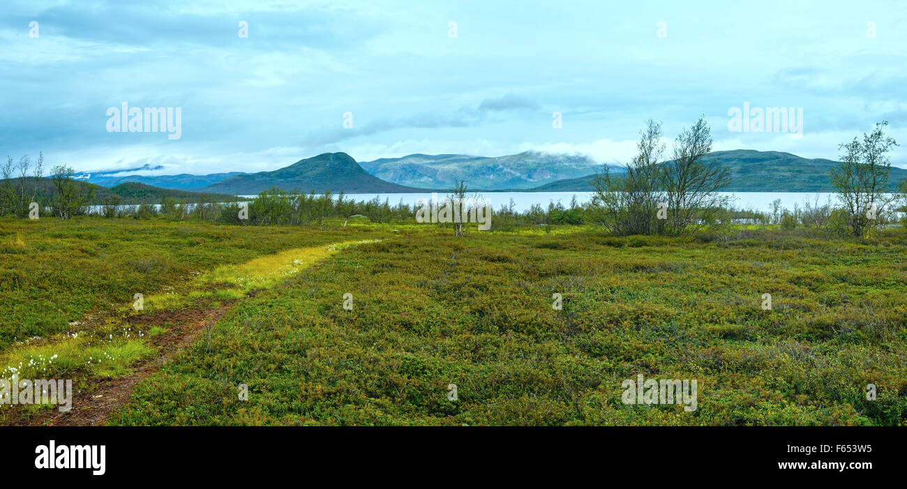 Tornetrask lake summer cloudy view ( Lapland, Norrbotten County in Sweden) - Stock Image
