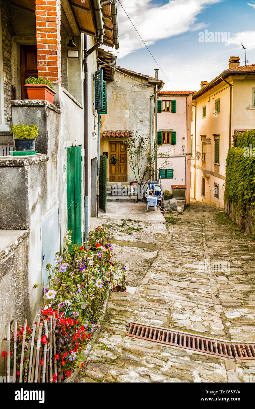 Alleys in medieval mountain village in Tuscany characterized by houses with walls of stones derived from the Renaissance: Stock Photo
