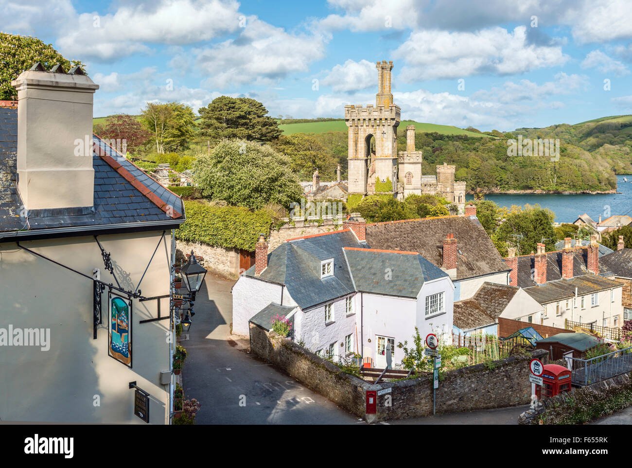 Scenic view over the old town of Fowey, Cornwall, England, UK | Malerische Aussicht ueber die Altstadt von Fowey, - Stock Image