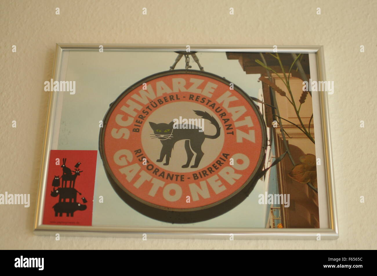 Gatto nero Restaurant Sign Stock Photo