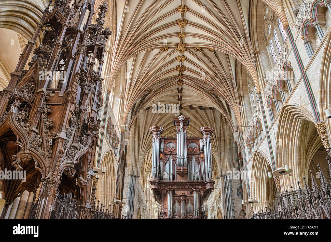 Interior and Pipe Organ of Exeter Cathedral, Devon, England, UK - Stock Image
