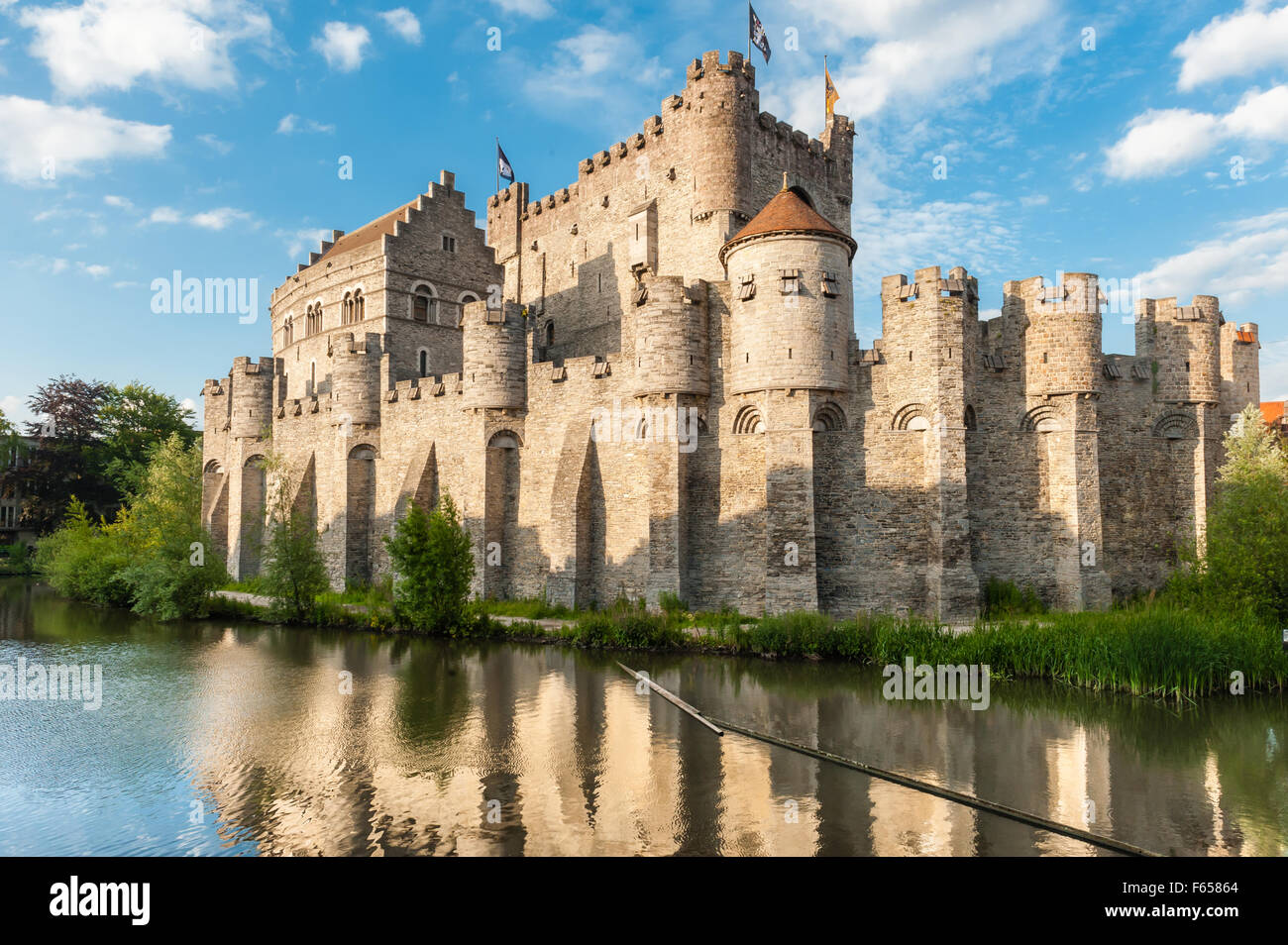 Medieval castle Gravensteen (Castle of the Counts) in Ghent, Belgium. - Stock Image