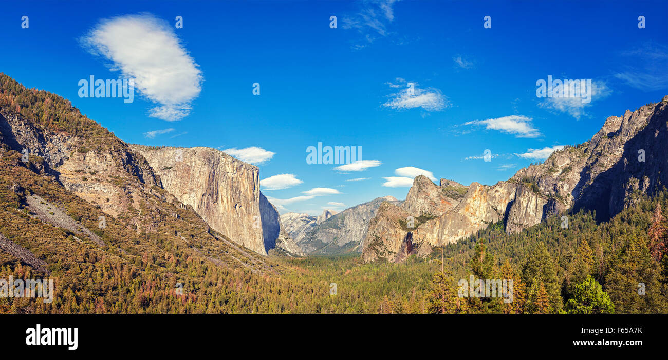 Yosemite Valley from the tunnel view, Yosemite National Park, California, USA. Stock Photo