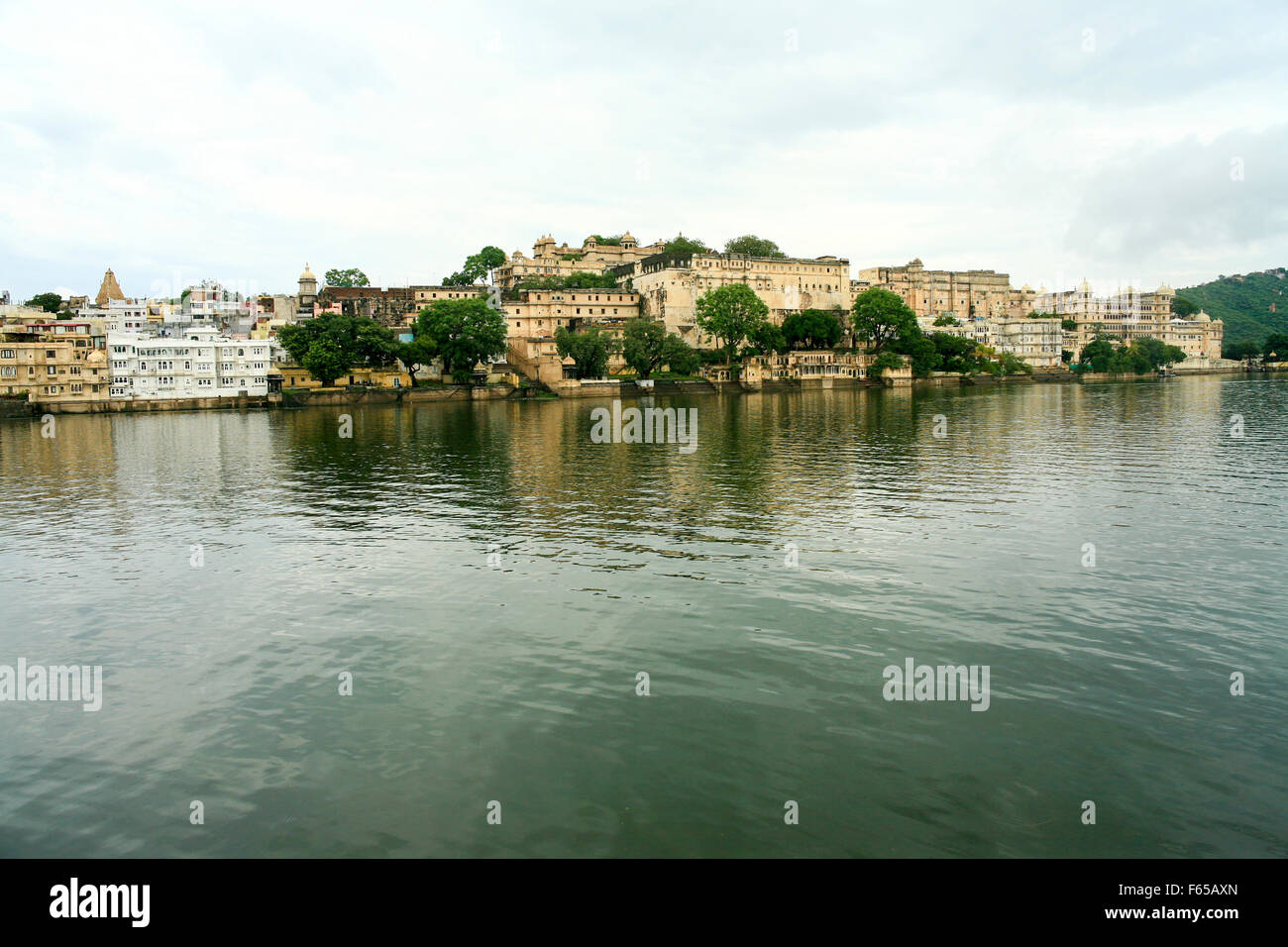 India, Rajasthan, Udaipur cityscape from Jag Mandir palace in lake Pichola Stock Photo