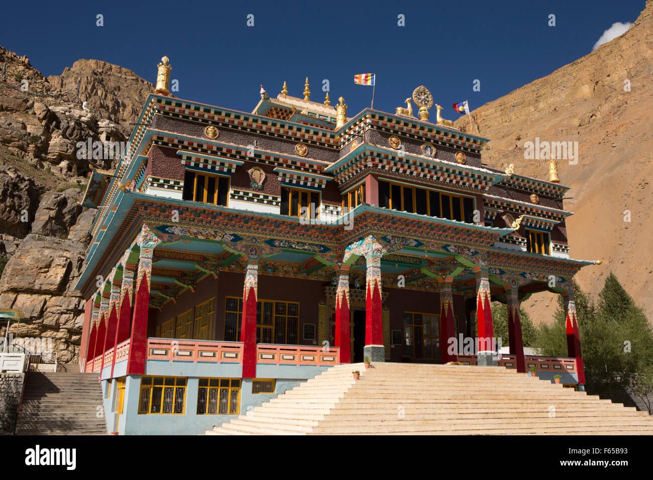 India, Himachal Pradesh, Spiti, Kaza, Sakya Tangyud (Tenggyu) Monastery inaugurated in 2009 by Dalai Lama - Stock Image