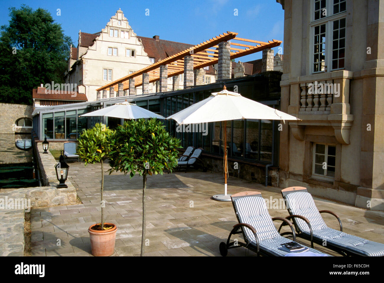 Terrace with sun beds at Schlosshotel Munchhausen, Germany Stock Photo