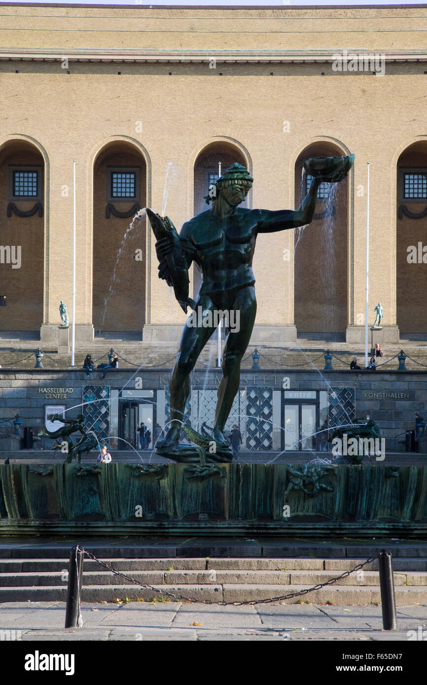 Statue of Poseidon at Gotaplatsen square in Gothenburg, Sweden - Stock Image