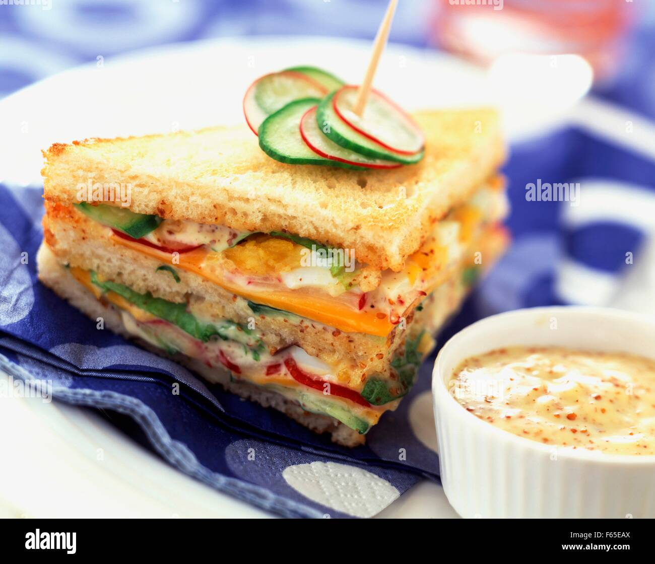 Raw vegetable club sandwich with mustard Stock Photo