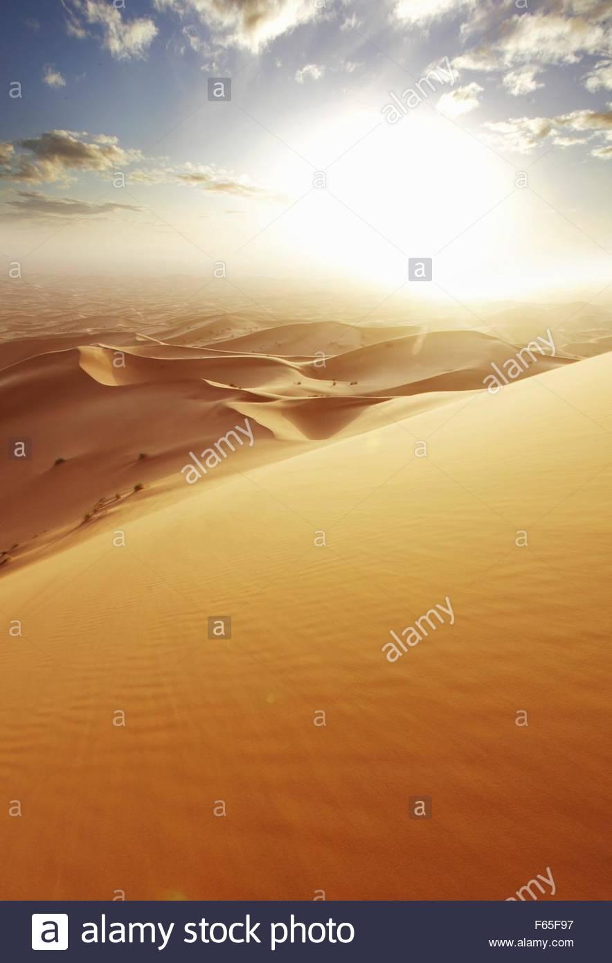The sand dune desert Erg Chebbi, Morocco - Stock Image
