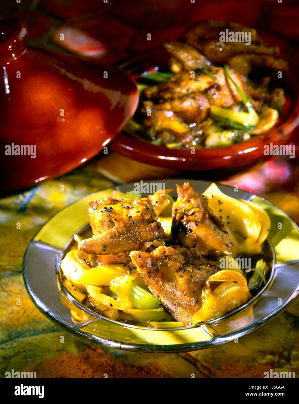 Pigeon,honey and aniseed Tajine Stock Photo