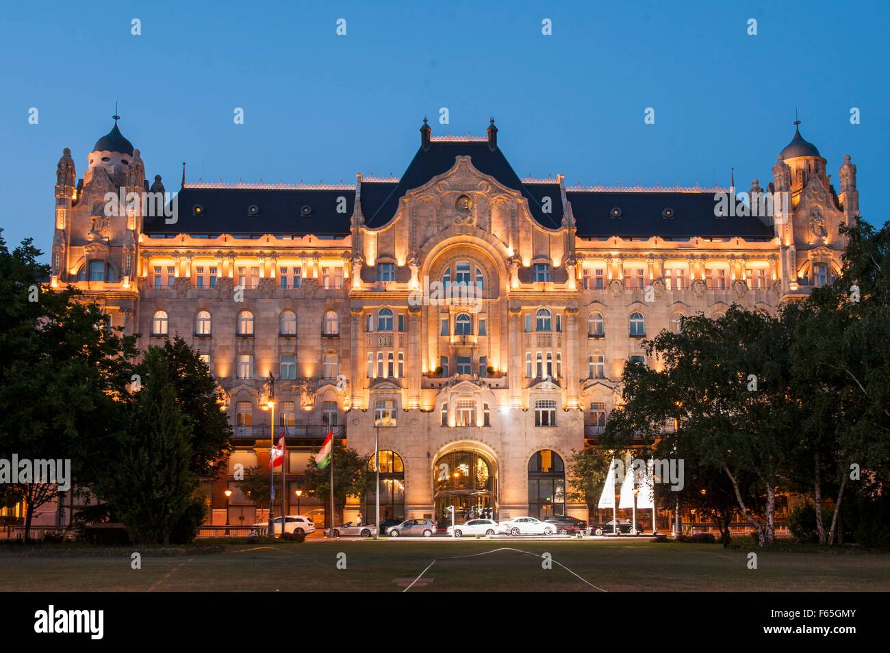A view of the 'Four Seasons' Hotel in the elegant Gresham Palace in Budapest, Hungary Stock Photo