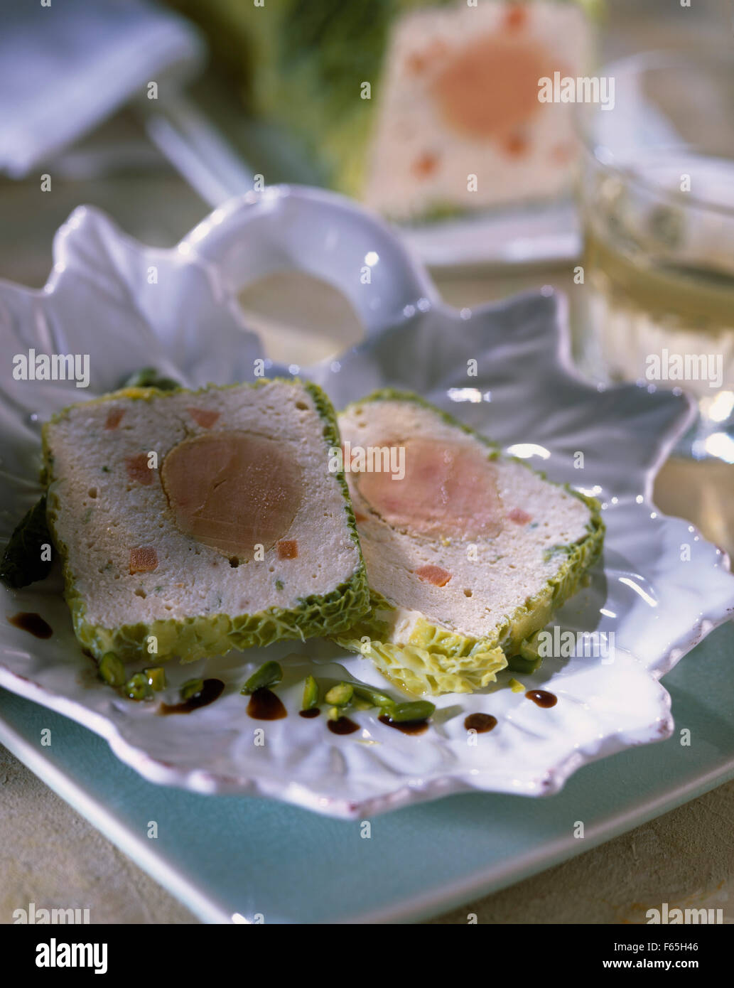 Chicken and duck foie gras terrine Stock Photo
