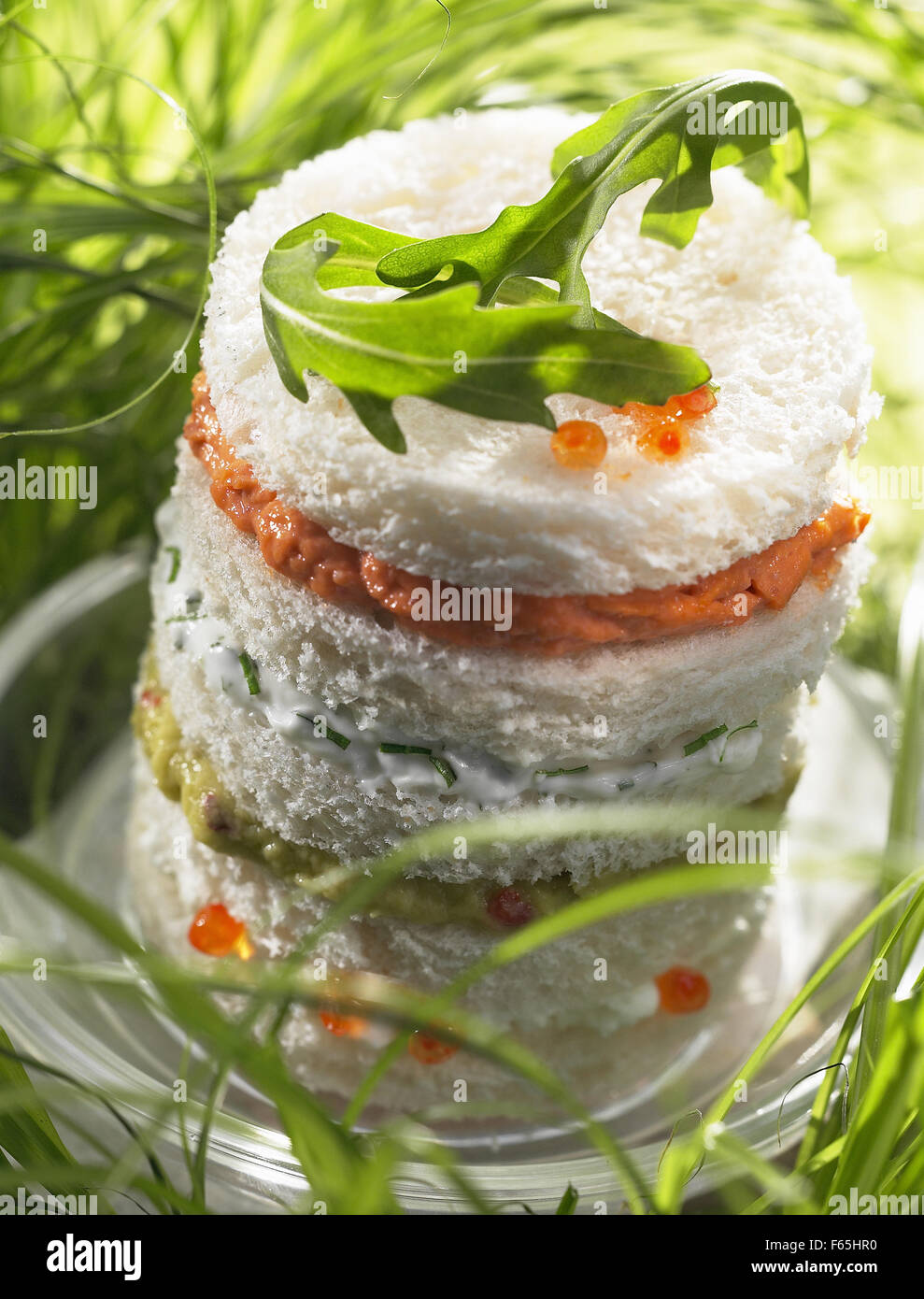 lobster-spiny lobster, cream and guacamole canapé sandwich (topic: summer snacks) Stock Photo