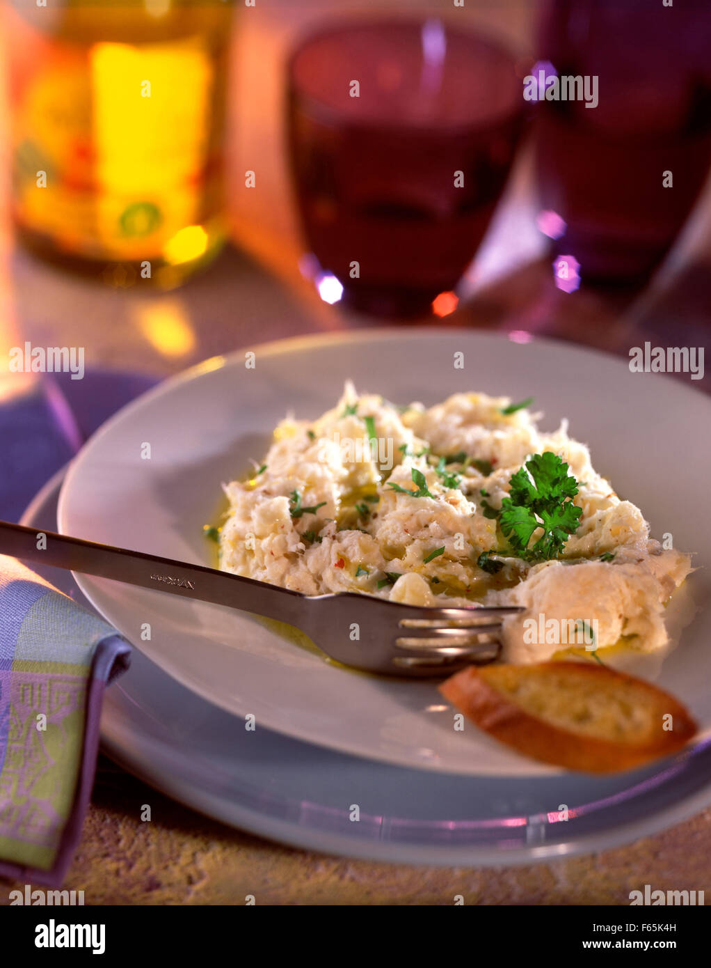 Cod brandade with olive oil Stock Photo