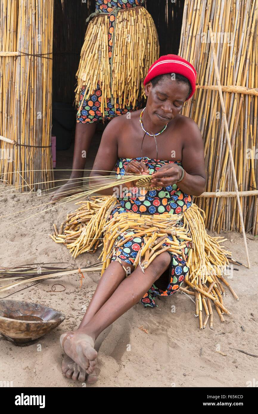 At the visitor village Lizauli you can gain an insight into the traditional way of life of the Mbukushu, Caprivi - Stock Image