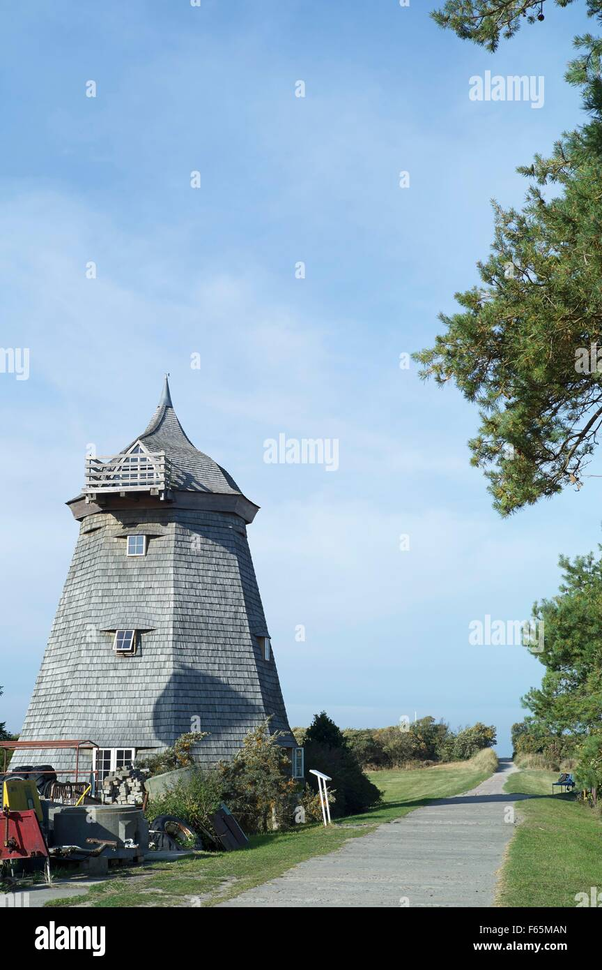 'Schwarze Mühle' at Vitte, Hiddensee - former grain mill, later a holiday apartment for artists - Stock Image