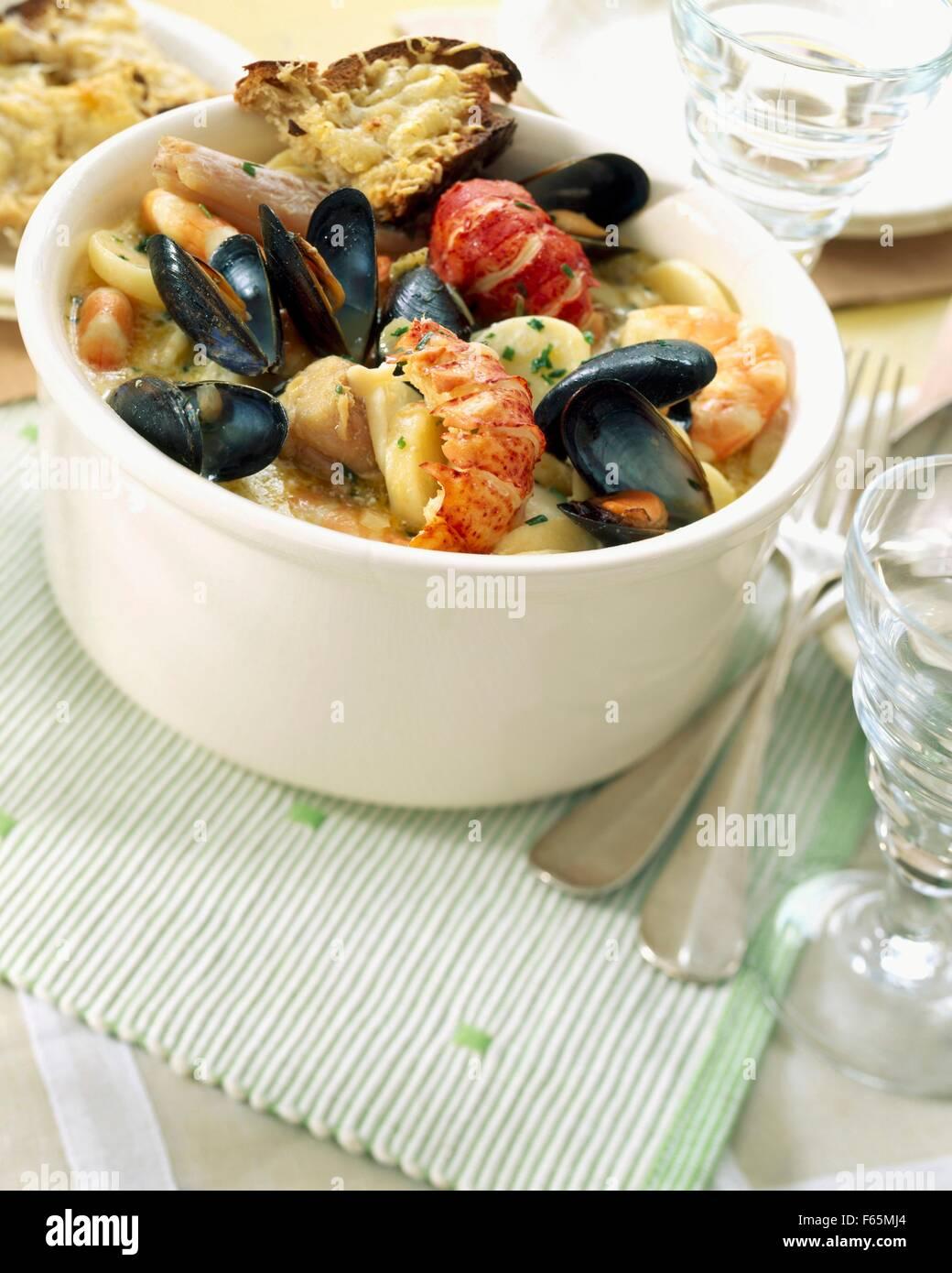Cotriade with Calvados Stock Photo