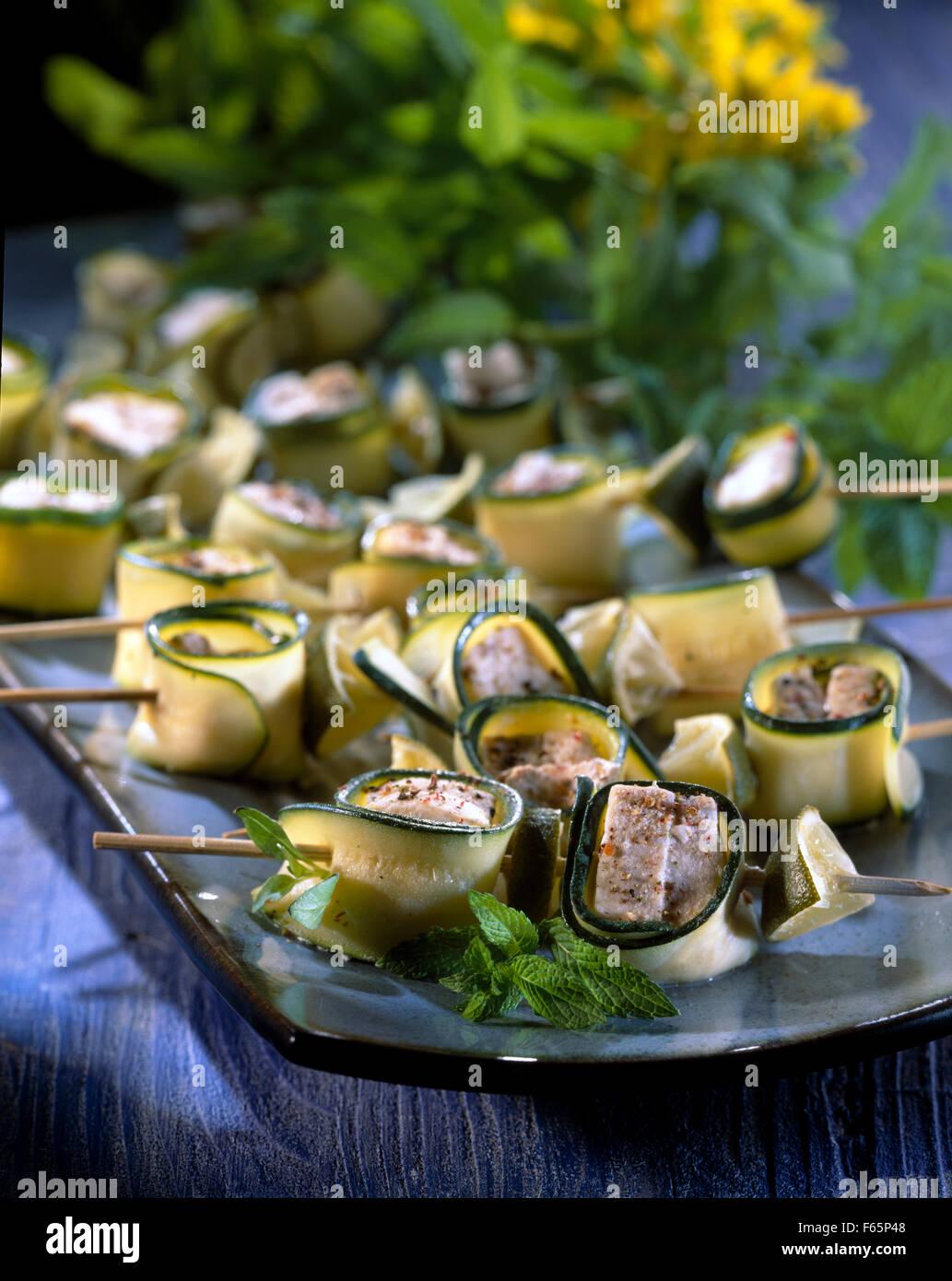 Swordfish and zucchini brochettes Stock Photo