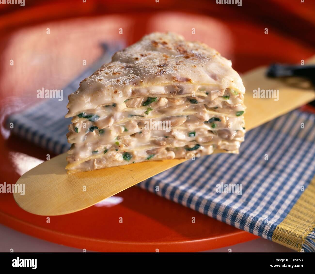 turkey and mushroom pancake cake Stock Photo