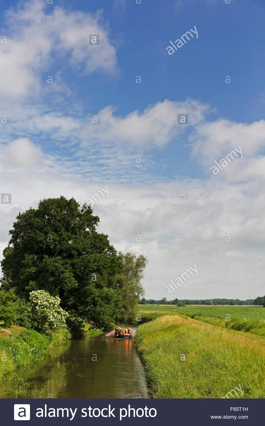 A canoe journey along the river Hase in Rieste - Stock Image