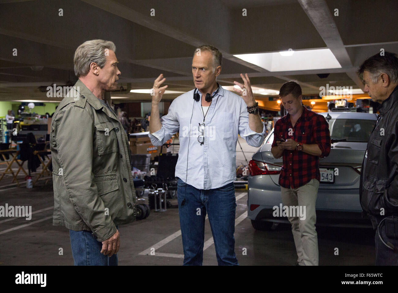 Terminator Genisys Year : 2015 USA Director : Alan Taylor Arnold Schwarzenegger, Alan Taylor Shooting picture - Stock Image