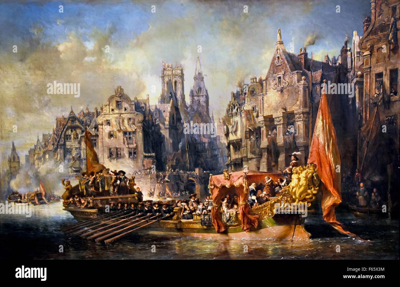 Arrivée du duc d'Albe à Rotterdam ( Arrival the Duke of Alva  ) 1844 Isabey, Eugène  1803 - 1886 - Stock Image