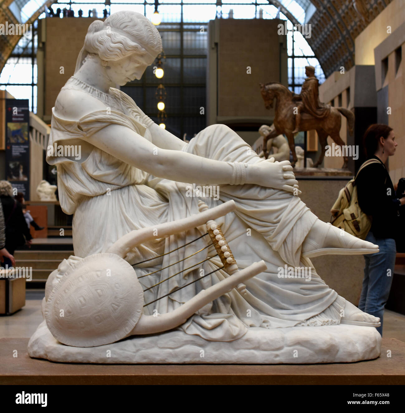 Sapho1852 James Pradier 1792-1852  Swiss Switzerland  ( marble statue H. 1.18; L. 0.67; P. 1.2 ) Musee d'Orsay - Stock Image