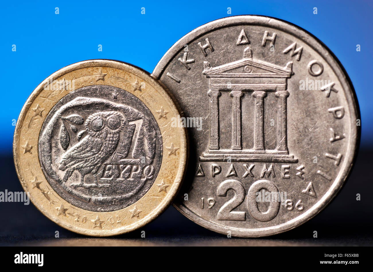 Greek Euro and old drachma - Stock Image