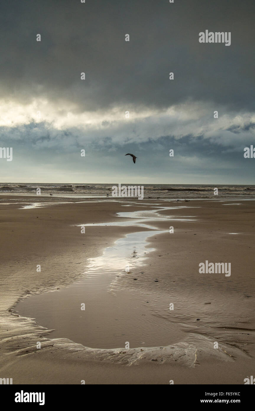 Blackpool, UK. 12th November, 2015. Clouds darken and the wind starts to freshen as the UK's first named storm - Stock Image