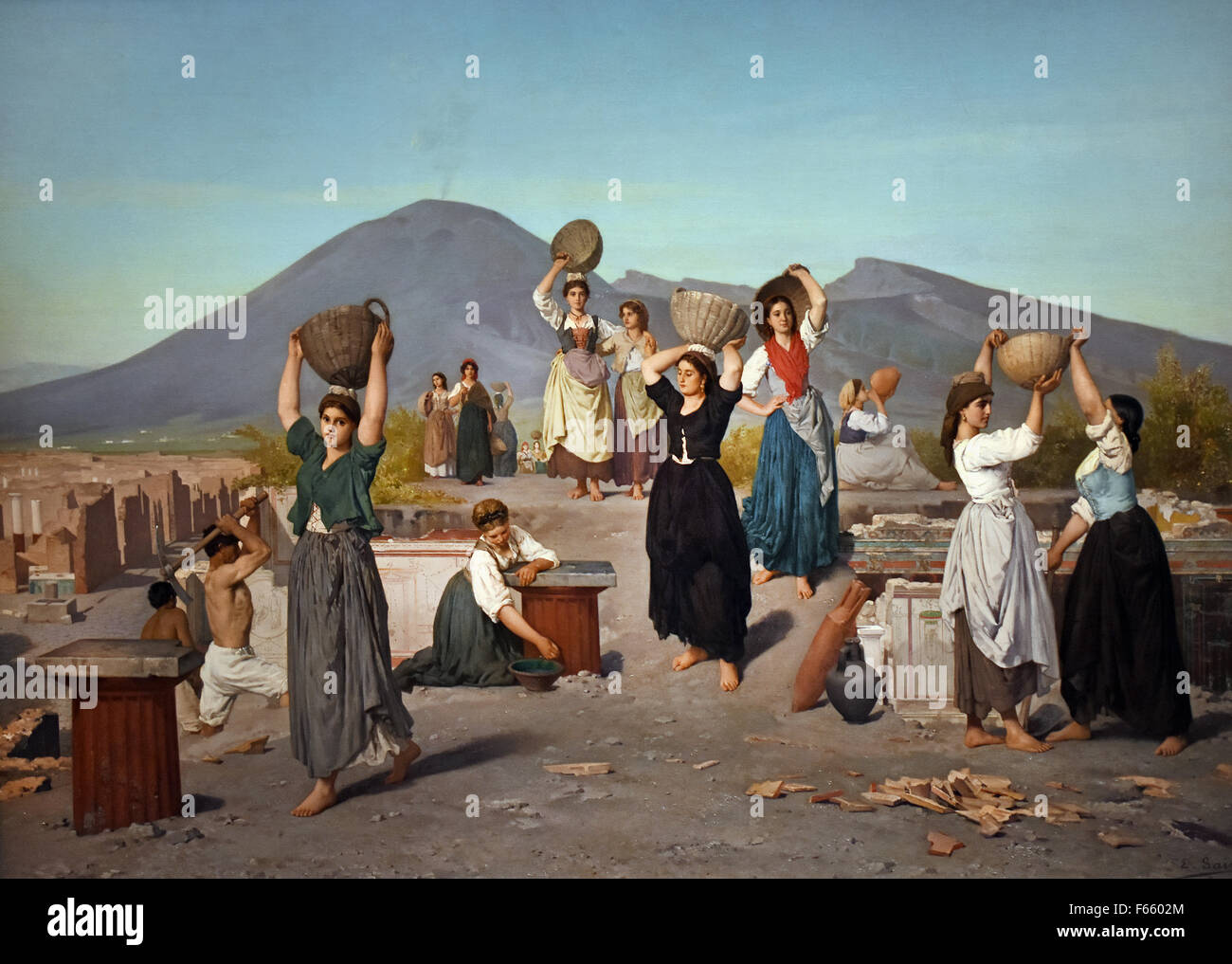 Fouilles à Pompéi - Excavations at Pompeii 1865 Edouard Sain 1830 -  1910 France French Stock Photo