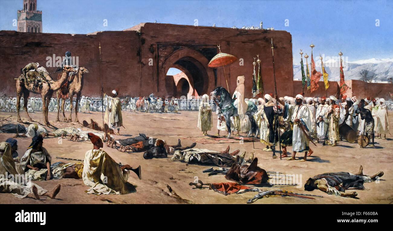 Les derniers rebelles, scène d'histoire marocaine - The last rebels, Moroccan history scene 1880  Benjamin-Constant Stock Photo