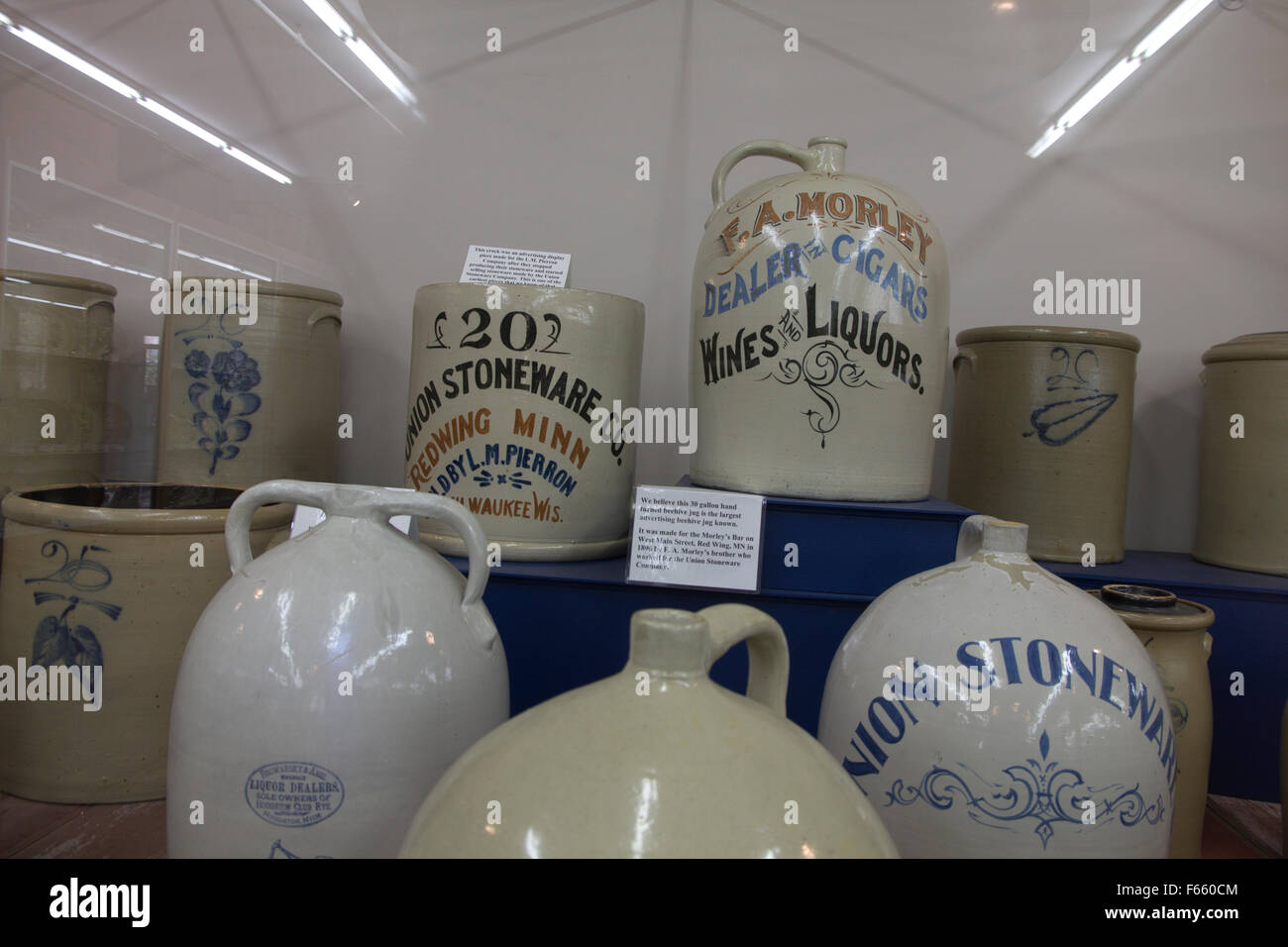 These vintage stoneware jugs are among nearly 6,000 items on display at the Pottery Museum of Red Wing in Red Wing. - Stock Image
