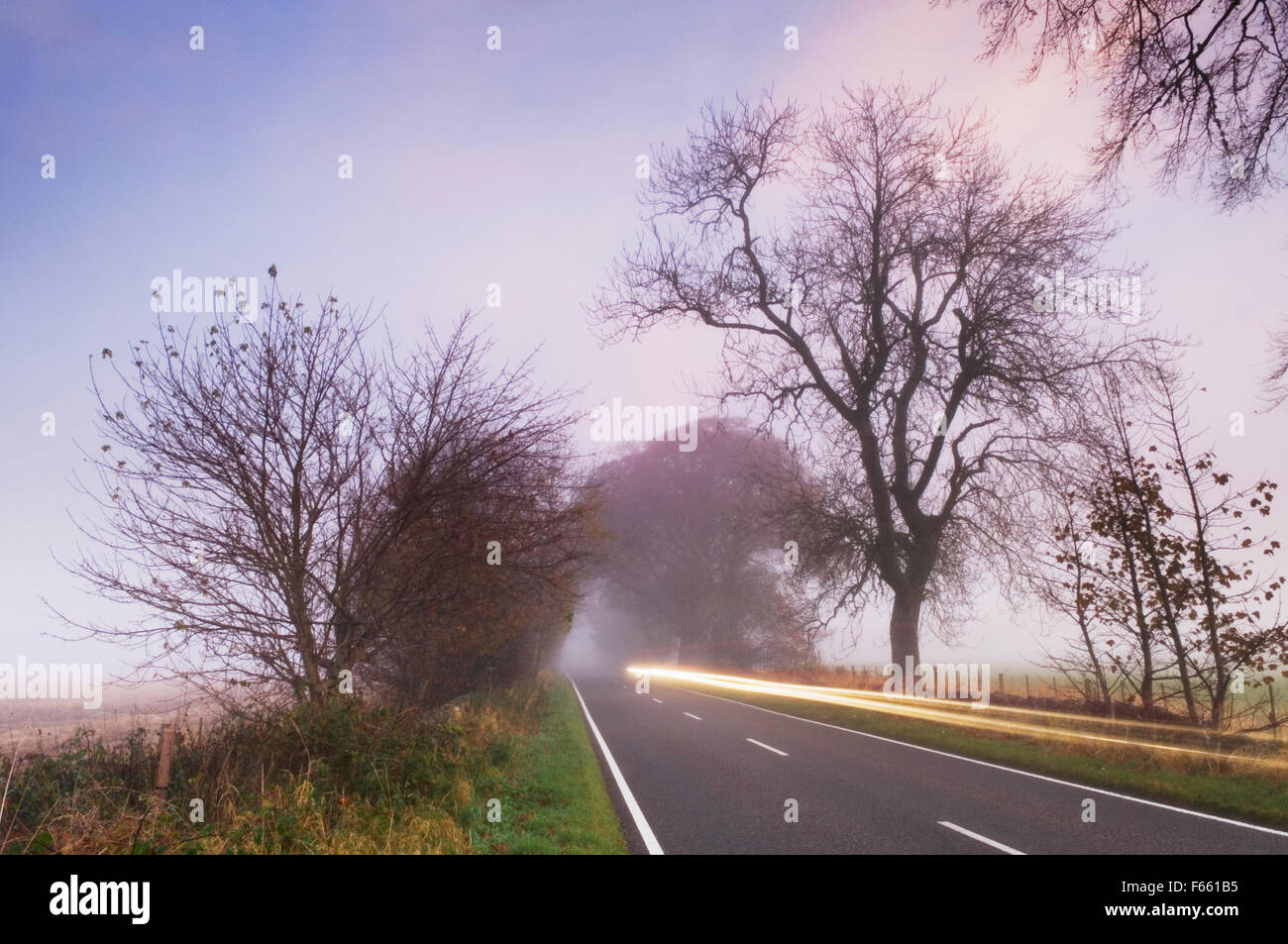 Light trails of car on a country road - Near Marybank, Ross-shire, Scotland. - Stock Image