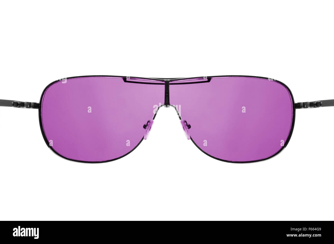 Wishful thinking concept. Look through pink sunglasses. Isolated on white - Stock Image