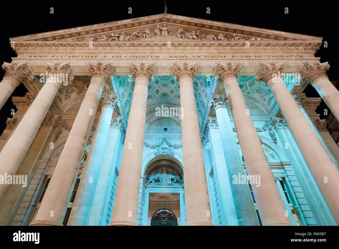 London Royal Exchange, luxury shopping Center facade at night - Stock Image