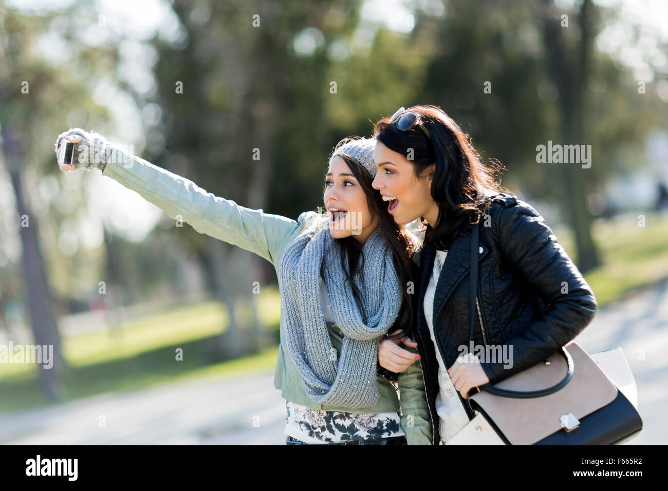 Two young women taking a selfie of themselves on a sunny day Stock Photo