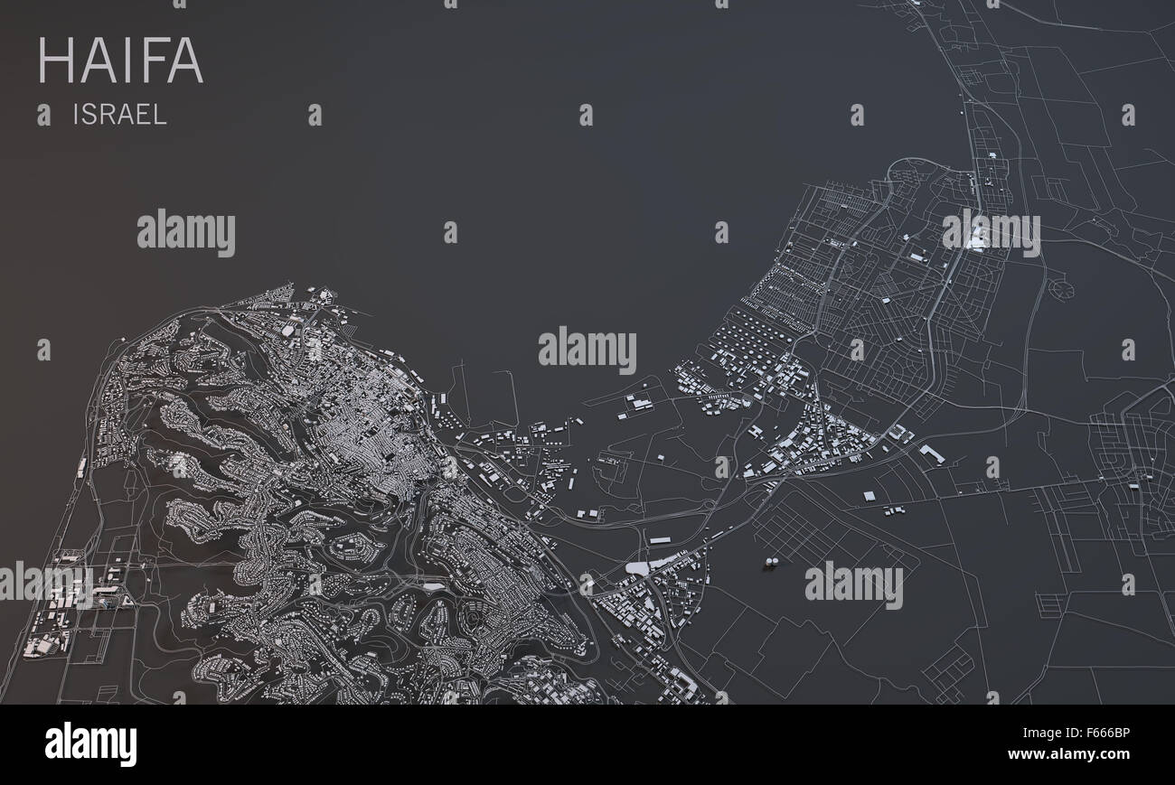 Black and white map of Haifa Israel satellite view Stock Photo