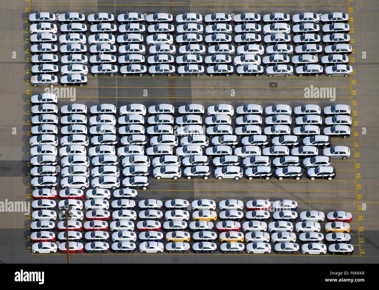 New Audi cars ready to be shipped, Uni Kai in Port of Hamburg, Hamburg, Germany - Stock Image