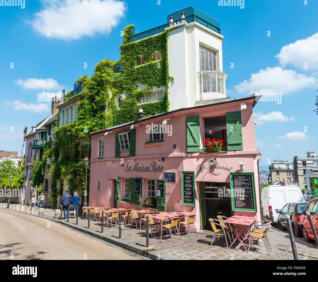 Restaurant La Maison Rose, Montmartre, Paris, Ile-de-France, France - Stock Image