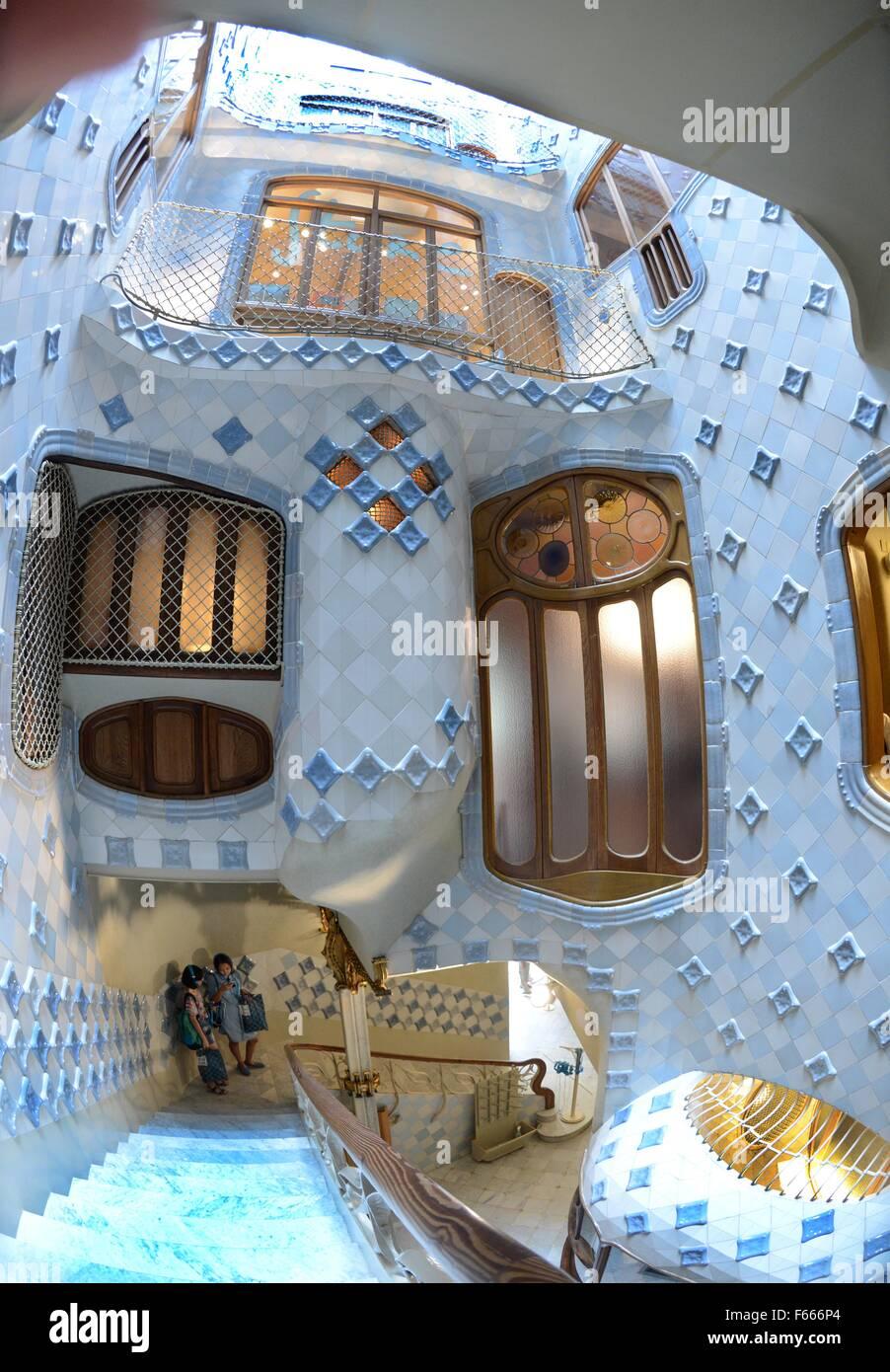 Barcelona, Spain. 24th July, 2015. Famous Spanish architect Antoni Gaudi (1852-1926) rebuilt the facade and interior - Stock Image
